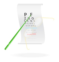 Glasses on a eye sight test chart vector image