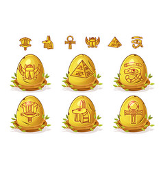 golden egg with egyptian symbols easter eggs vector image