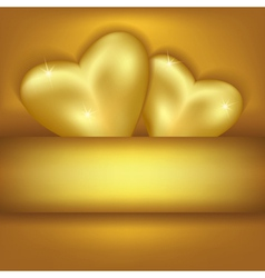 Golden stylish background with hearts vector image