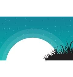 Grass with big moon landscape valentine vector image
