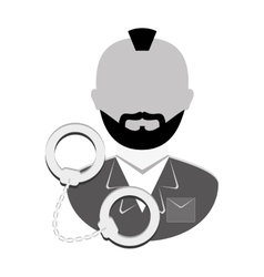 Grayscale arrested man with handcuffs icon vector