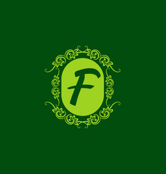 green f initial letter in classic frame vector image