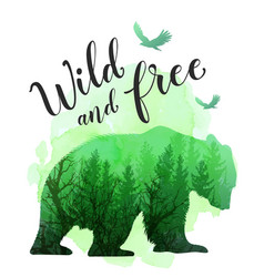green silhouette of a wild bear vector image