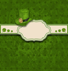 greeting card with clovers and hat for St Patricks vector image