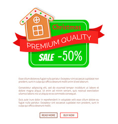 half price off gingerbread house web poster vector image