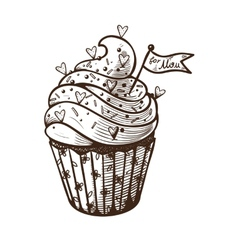 Hand drawn of cupcake vector