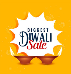 happy diwali sale yellow banner design vector image