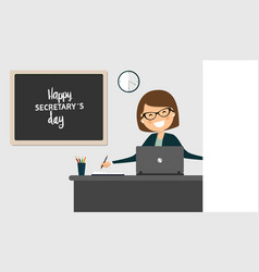 Happy secretarys day celebration female office vector