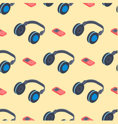 headphones music sound stereo dj seamless pattern vector image