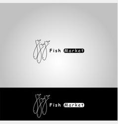 icon fish market vector image