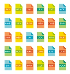 Icon set of file extensions vector