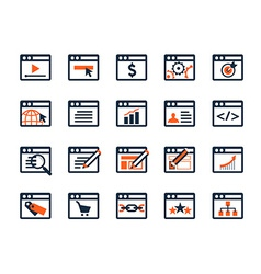 Icon set Web development and SEO Flat design vector image