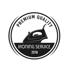 ironing service emblem with steam iron vector image