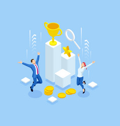 Isometric profit fortune and success successful vector