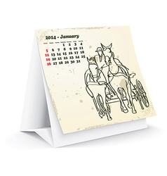 January 2014 desk horse calendar vector image