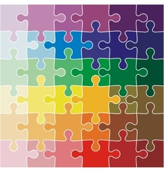 Jigsaw puzzle color of the rainbow vector image