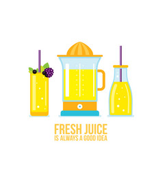 juicer glass of juice smoothie bottle organic vector image