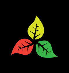 leaf eco logo on black background vector image