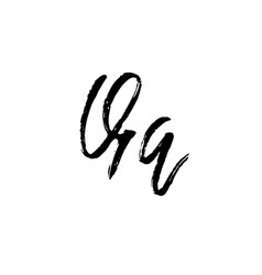 letter q handwritten by dry brush rough strokes vector image