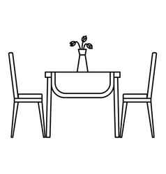 living room table icon outline style vector image