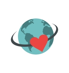 Love the earth flat icon vector image