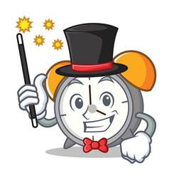 Magician alarm clock mascot cartoon vector