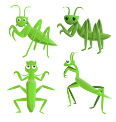 Mantis icons set cartoon style vector