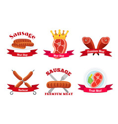 Meat logos labels fresh meat in flat style vector