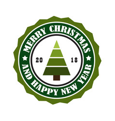merry christmas and happy new year 2018 stamp tag vector image