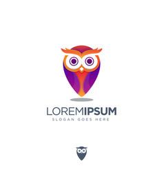 Modern geometric owl pin logo icon template vector