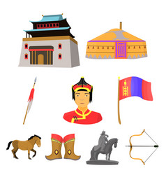 Mongolian national characteristics icons set vector