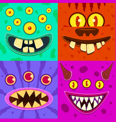 monster faces cute horned crazy goblin and slimy vector image
