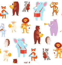 Musical animal wallpaper pattern seamless cute vector