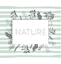Nature word with handmade font and floral vector