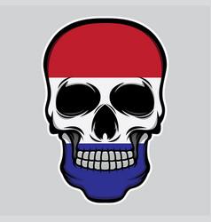 nederland flag head skull vector image