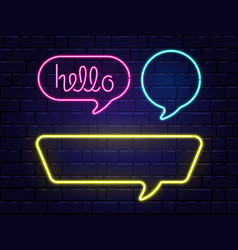 neon speech bubbles set with space for text hello vector image