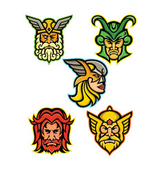 Norse gods mascot collection vector