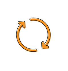 Orange refresh icon isolated on white background vector