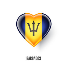 Patriotic heart symbol with barbados flag vector