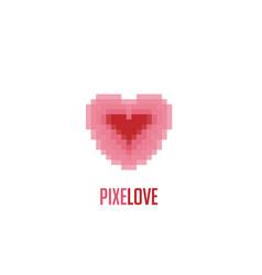 pixel love logo vector image