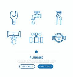 plumbing thin line icons set vector image