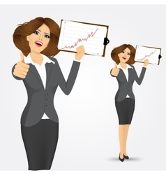 portrait of businesswoman with clipboard vector image