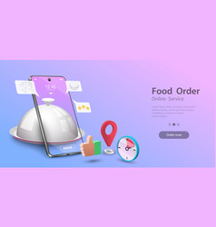 Restaurant and cafe online food order application vector