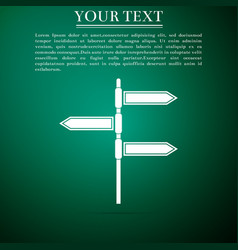 road traffic sign signpost on green background vector image