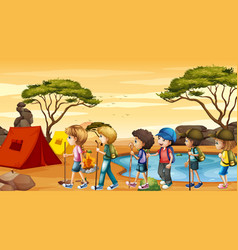 Scene with children hiking and camping vector