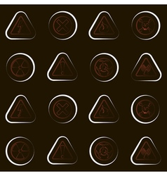 seamless geometrical background with warning signs vector image