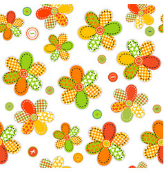 Seamless pattern with flowers made of sewing vector