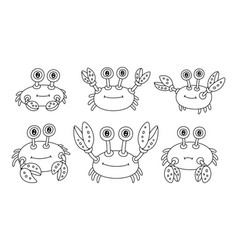 set crabs vector image