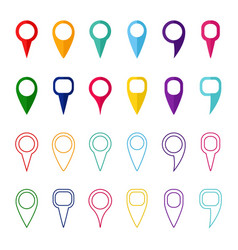 set of colored map markers and pointers vector image