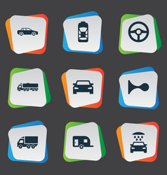set of simple auto icons vector image
